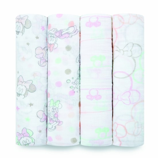 Lot de 4 langes 112x112 Minnie Bubble  de aden + anais essentials