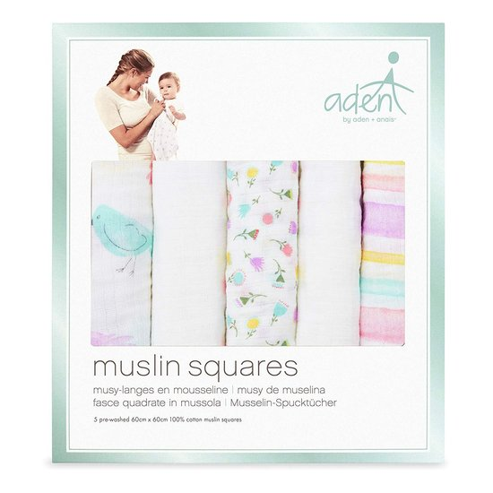 Lot de 5 langes Musy 60x60 Printemps  de aden by aden + anais