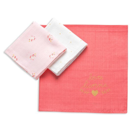 Licorne lot de 3 langes Rose 70x70 cm de P'tit Bisou Trousseau