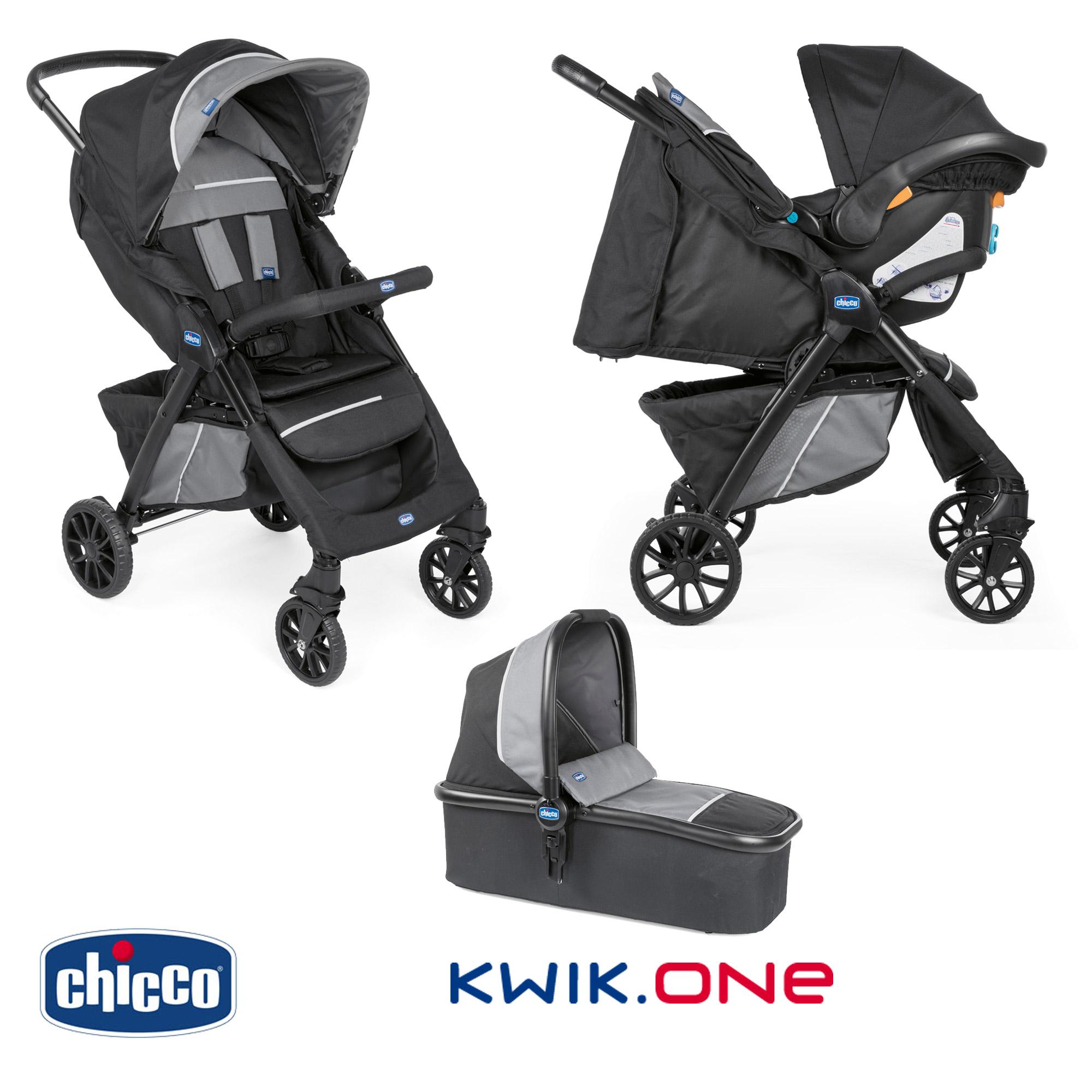 Trio Kwik One Jet Black de Chicco, Packs poussettes   Aubert 52802ebd17e0