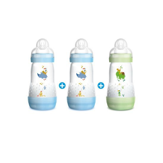 Lot de 3 biberons Easy Start 260ml Bleu  de Mam