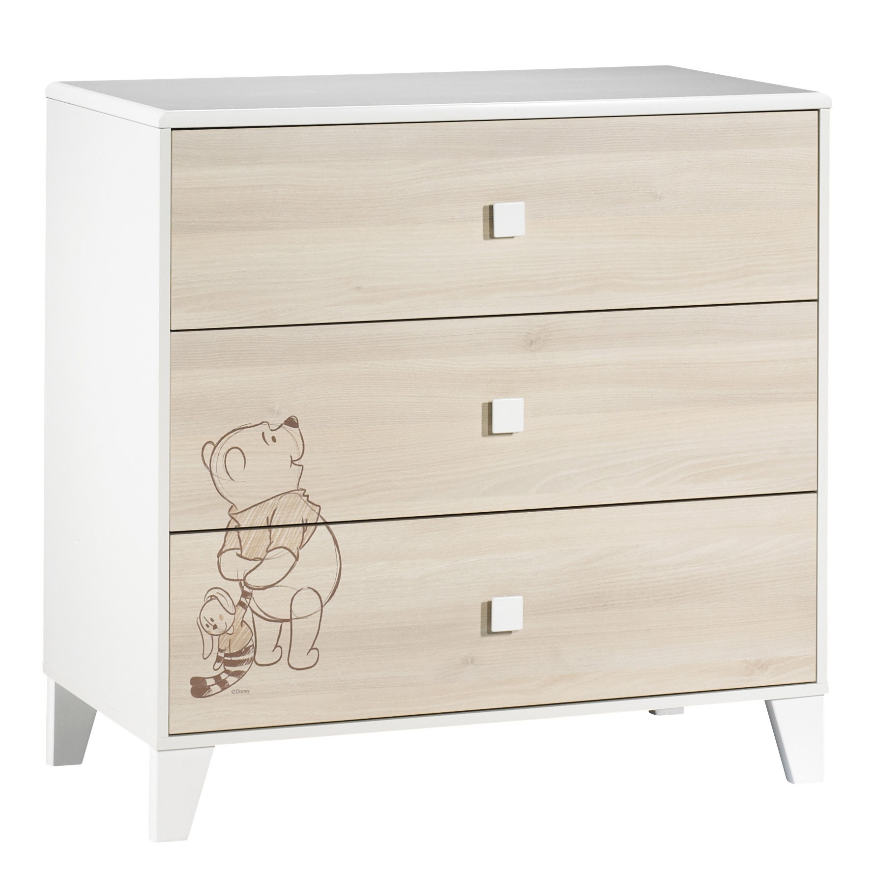 Winnie l'Ourson commode 3 tiroirs Beige  de Sauthon Baby's Sweet Home