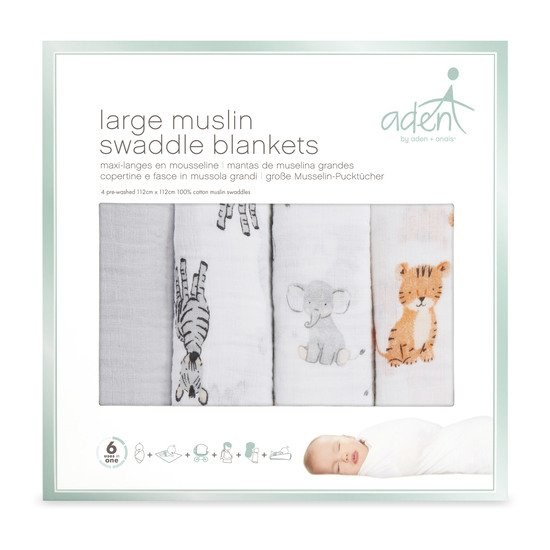 Lot de 4 langes 112x112 Safari Babies  de aden by aden + anais