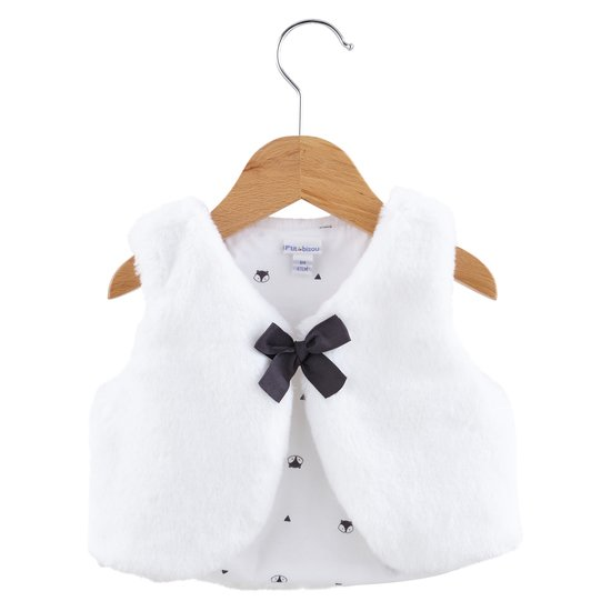 Veste sans manches collection Little Fox Blanc  de P'tit Bisou Trousseau