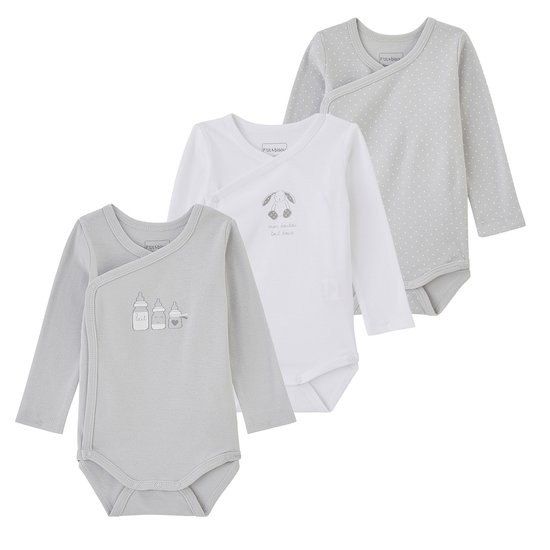 Lot de 3 bodies Gris Soft  de P'tit bisou