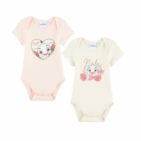 Lot 2 bodies à manches courtes Nala Rose  de Disney Baby