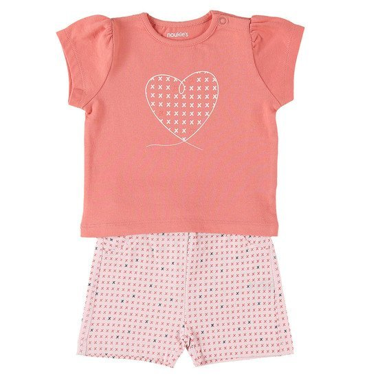 Ensemble short + t-shirt collection Cocon Fille été  Rose  de Noukies