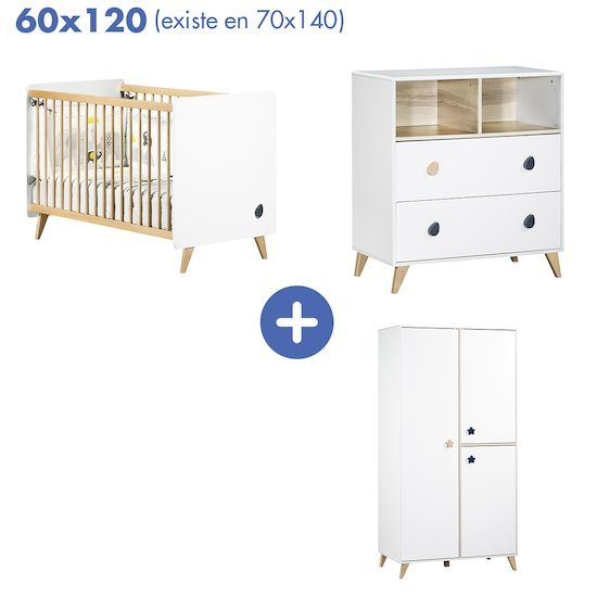 Chambre Oslo : Lit 60x120 + armoire + commode   de Sauthon Baby's Sweet Home