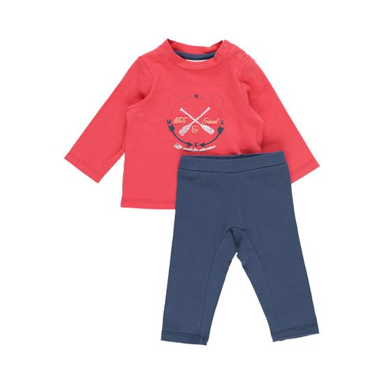 Ensemble t-shirt pantalon collection Bord de mer Garçon Rouge / Bleu  de Noukies
