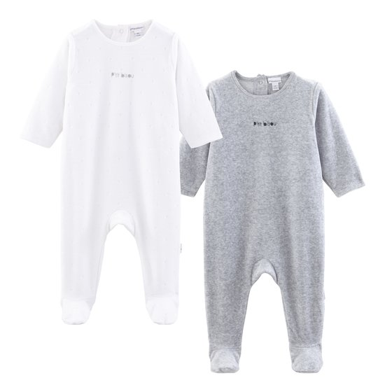 Lot 2 pyjamas collection Little Fox Gris/Blanc  de P'tit Bisou Trousseau