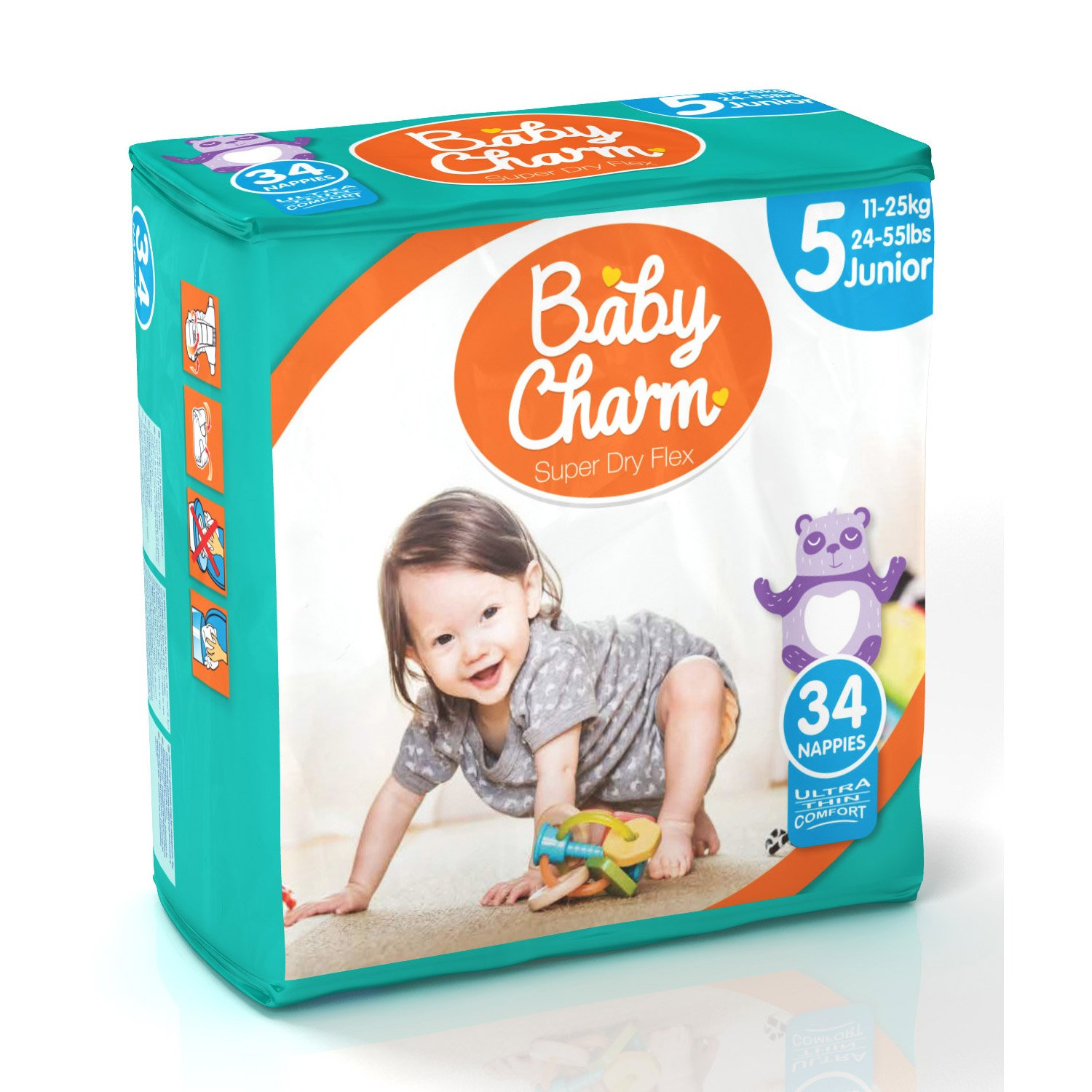 Couches super dry flex junior 11/25kg Blanc Pack de 34 de Baby Charm