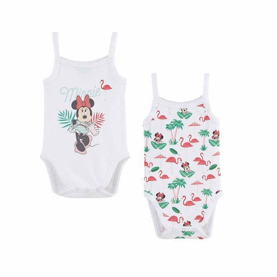 Lot de 2 bodies à bretelles Minnie Blanc  de Disney Baby
