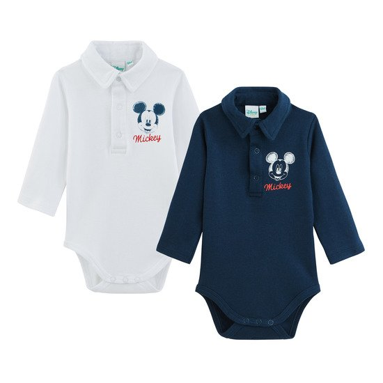 Lot de 2 bodies manches longues Col polo Mickey  de Disney Baby