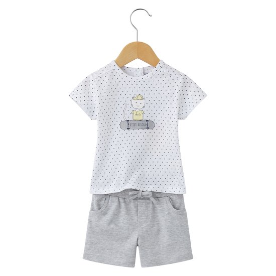 Mini Étoile ensemble short Blanc / Gris  de P'tit bisou