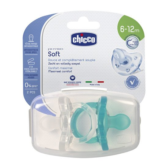 2x Sucette Physio Soft silicone Bleu / Blanc 6-12 mois de Chicco