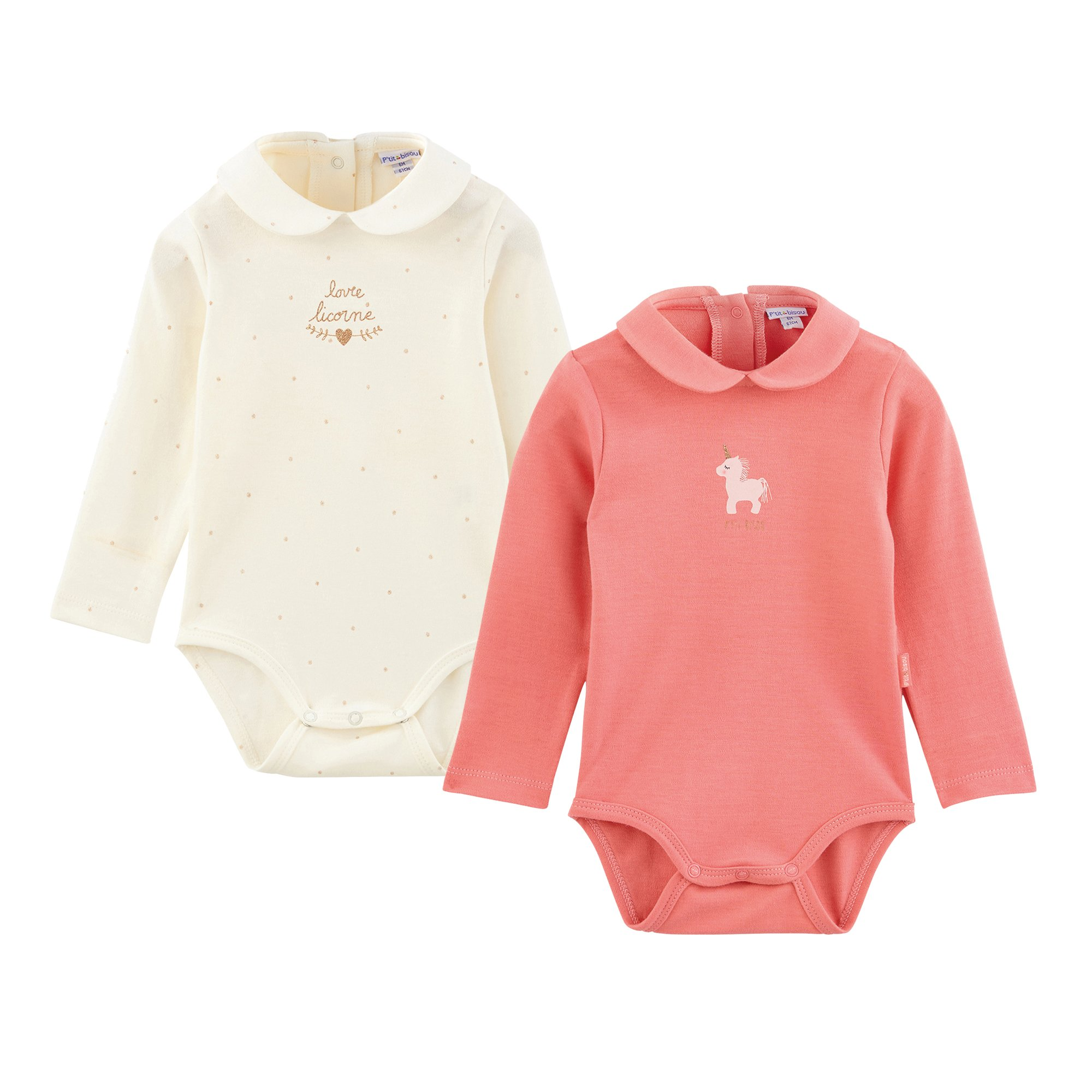 Lot 2 bodies collection Licorne Rose/Blanc Naissance de P'tit Bisou Trousseau