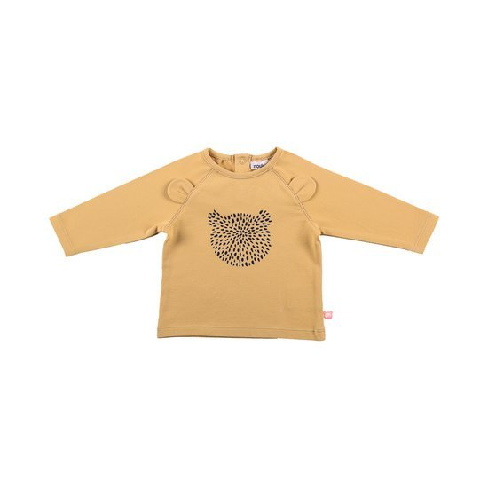 T-shirt coton bio collection Cocon Fille Hiver Jaune  de Noukies