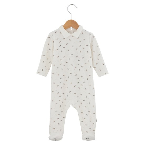 Pyjama motifs chats collection Mini Cat Ecru  de P'tit Bisou Trousseau