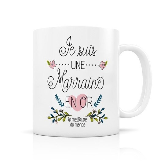 Mug Marraine en or  de Label Tour