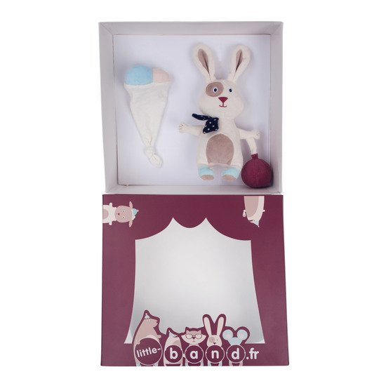 Balloon Company coffret peluche 25cm + doudou Ecru  de Little Band