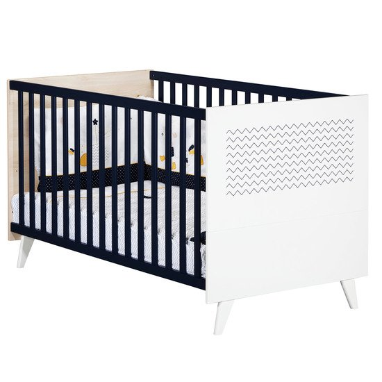 Hello little big bed 70x140 Hêtre cendré/Dark Blue  de Sauthon Baby's Sweet Home