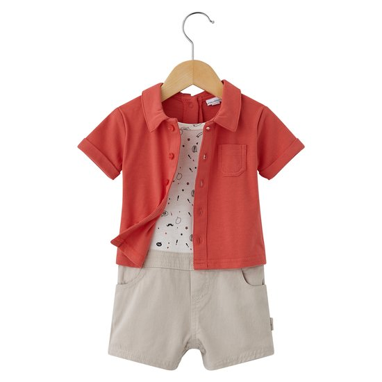 Funny Baby combicourt chemise Orange  de P'tit bisou