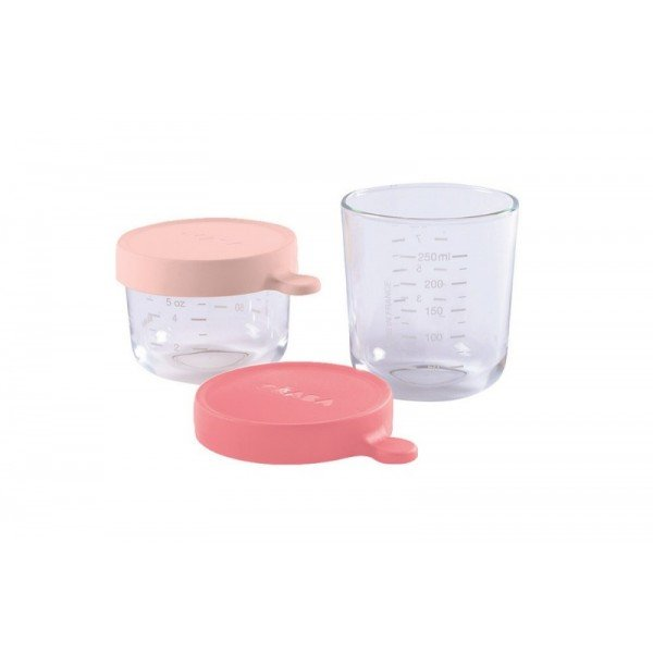 Coffret 2 Portions Verre Rose 150-250ml de Béaba
