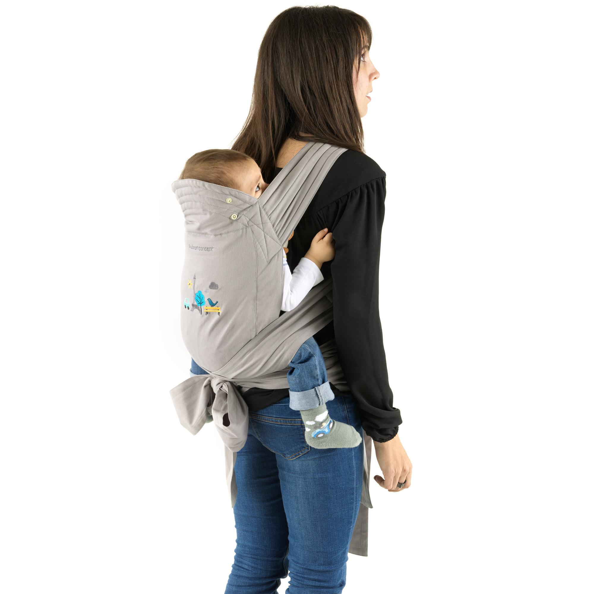 Porte enfant souple gris de aubert concept porte b b ventral aubert - Porte bebe aubert concept ...