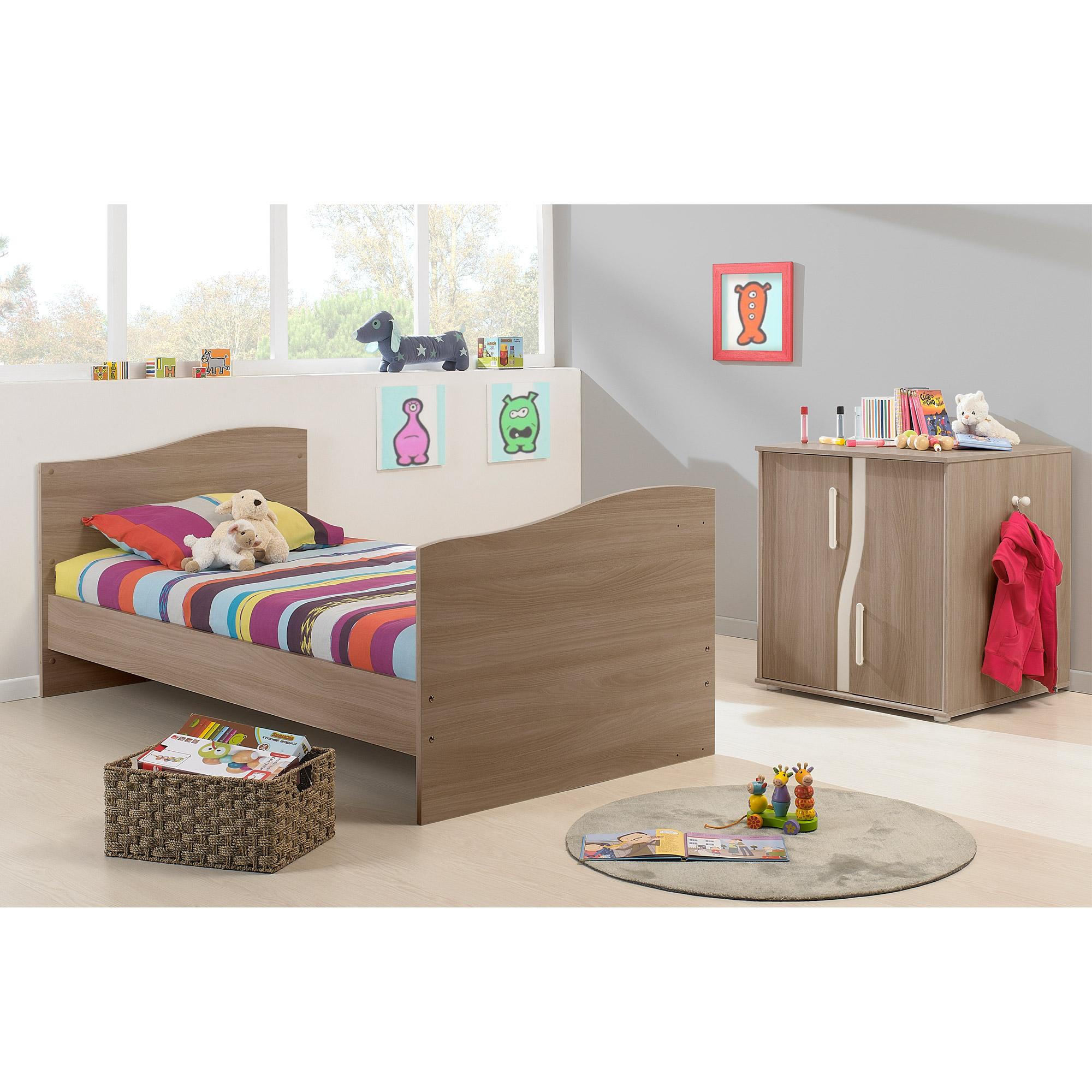 pablo lit chambre transformable noyer clair 60x120 de petit petit ensembles volutifs aubert. Black Bedroom Furniture Sets. Home Design Ideas