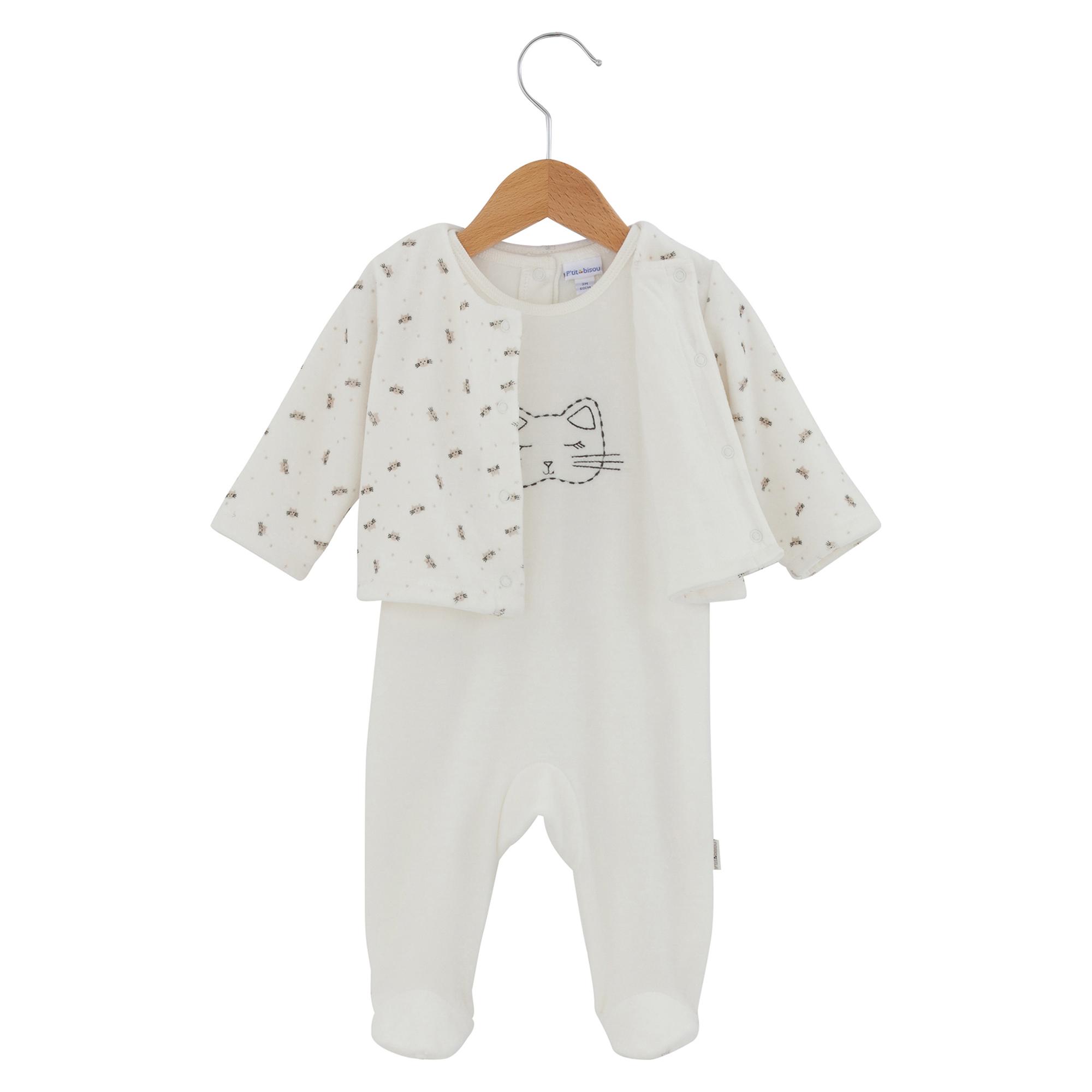 f1baa3aa445a1 Ensemble pyjama collection Mini Cat Ecru de P tit Bisou Trousseau ...