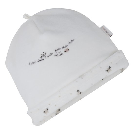 Bonnet velours collection Mini Cat Blanc  de P'tit Bisou Trousseau