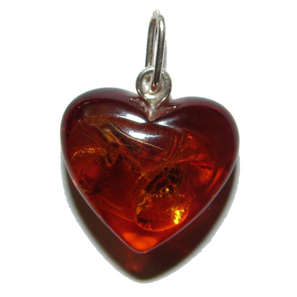 Pendentif coeur en ambre Cognac  de Histoire d'Ambre
