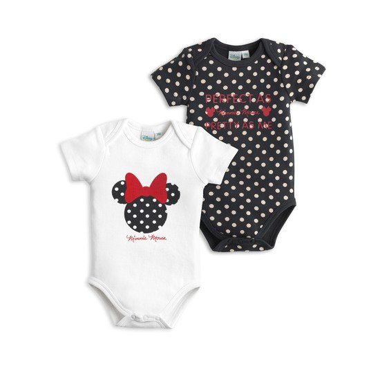 Minnie lot de 2 bodies Noir / Blanc  de Disney Baby