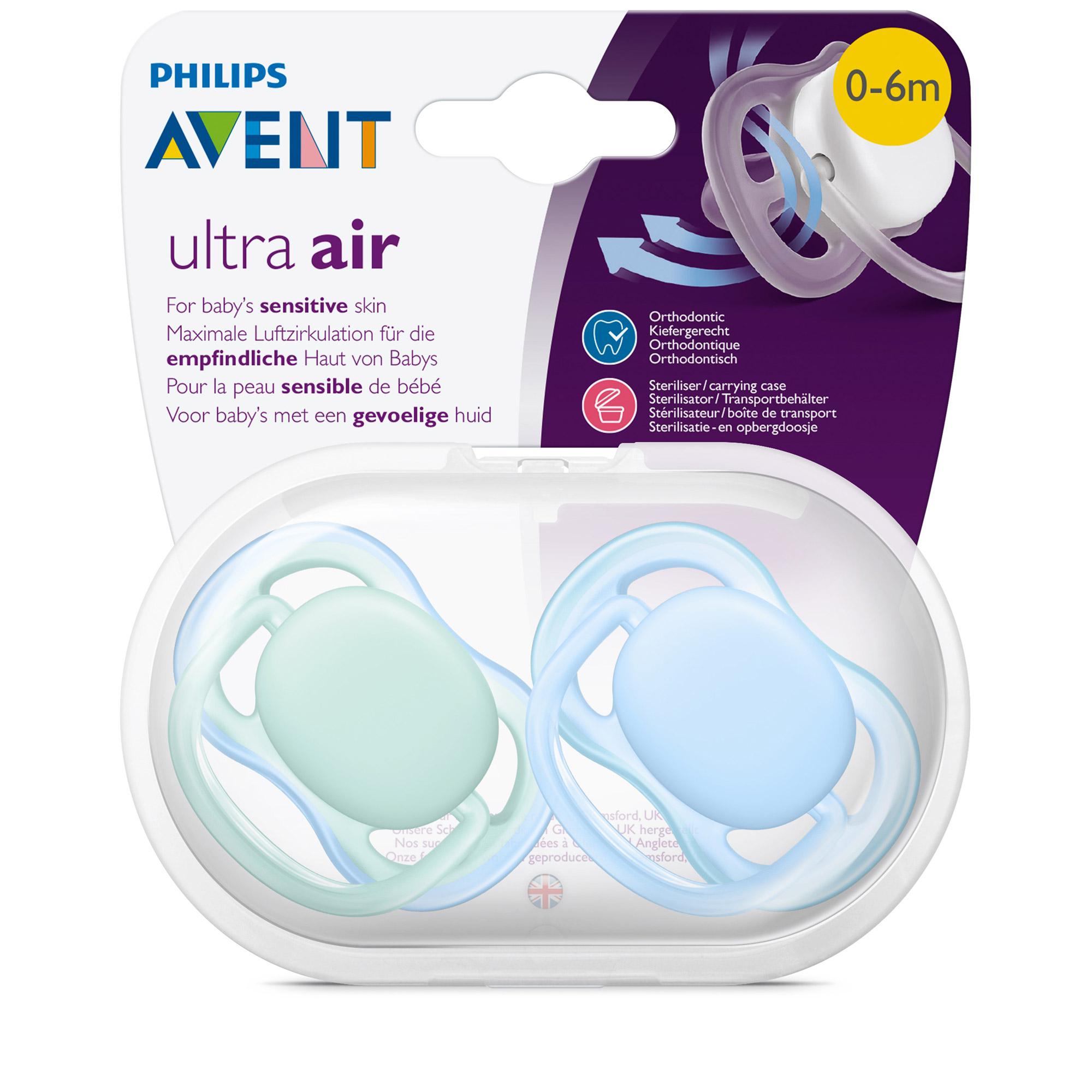 Lot 2 sucettes ultra air Rose / Orange 6-18 mois de Philips AVENT