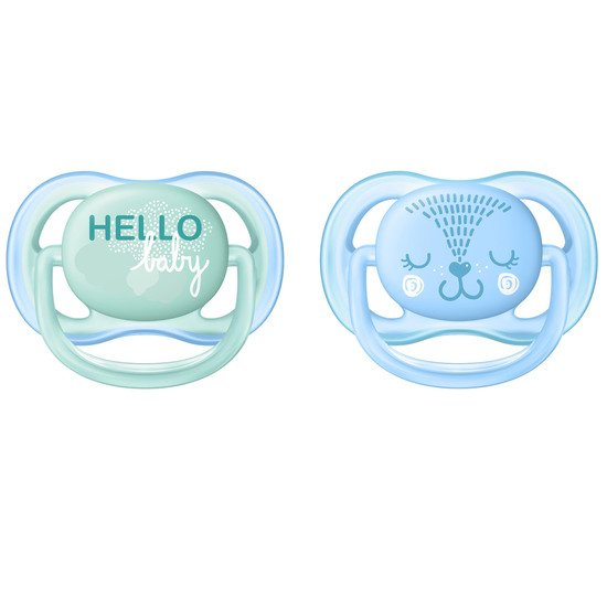 Lot 2 sucettes ultra air Hello baby 0-6 mois de Philips AVENT