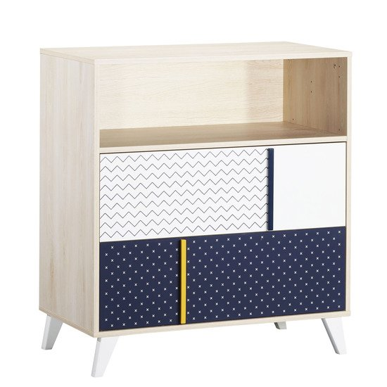 Hello commode 2 tiroirs Hêtre Cendre/Dark Blue  de Sauthon Baby's Sweet Home