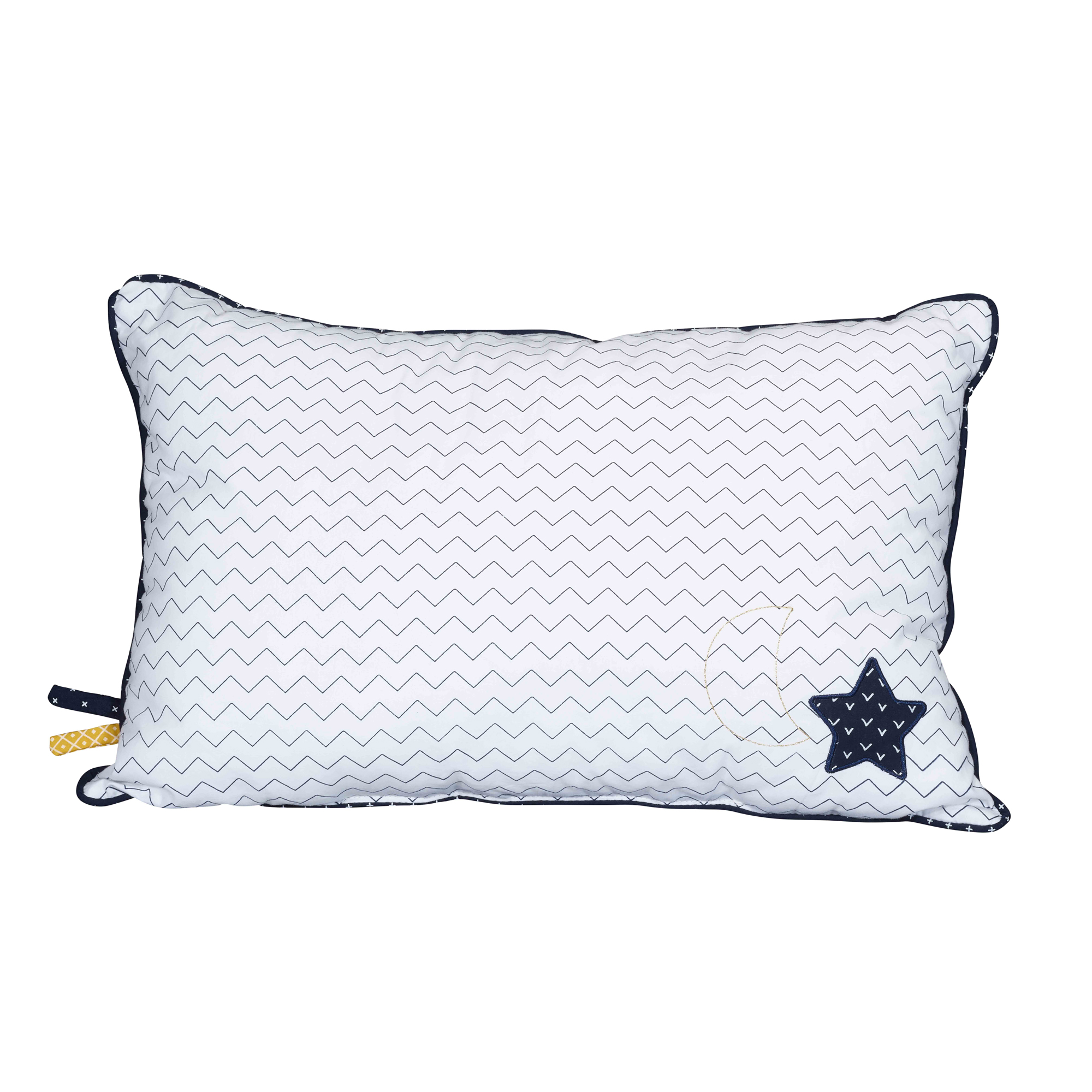 Hello coussin rectangulaire  Blanc / Marine   de Sauthon Baby's Sweet Home