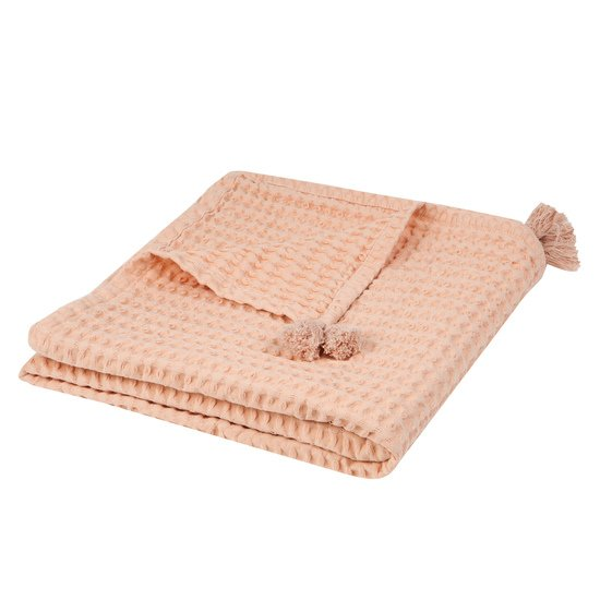 Lola Polka plaid nid abeille 100x140 Rose  de Nattiot
