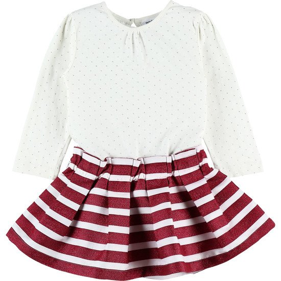 Robe bi-matière en jersey Collection Smart Girl écru/bordeaux  de Noukies