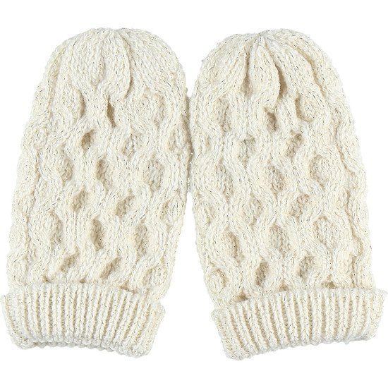 Paire de moufles en tricot torsadé Collection Smart Girl Ecru  de Noukies