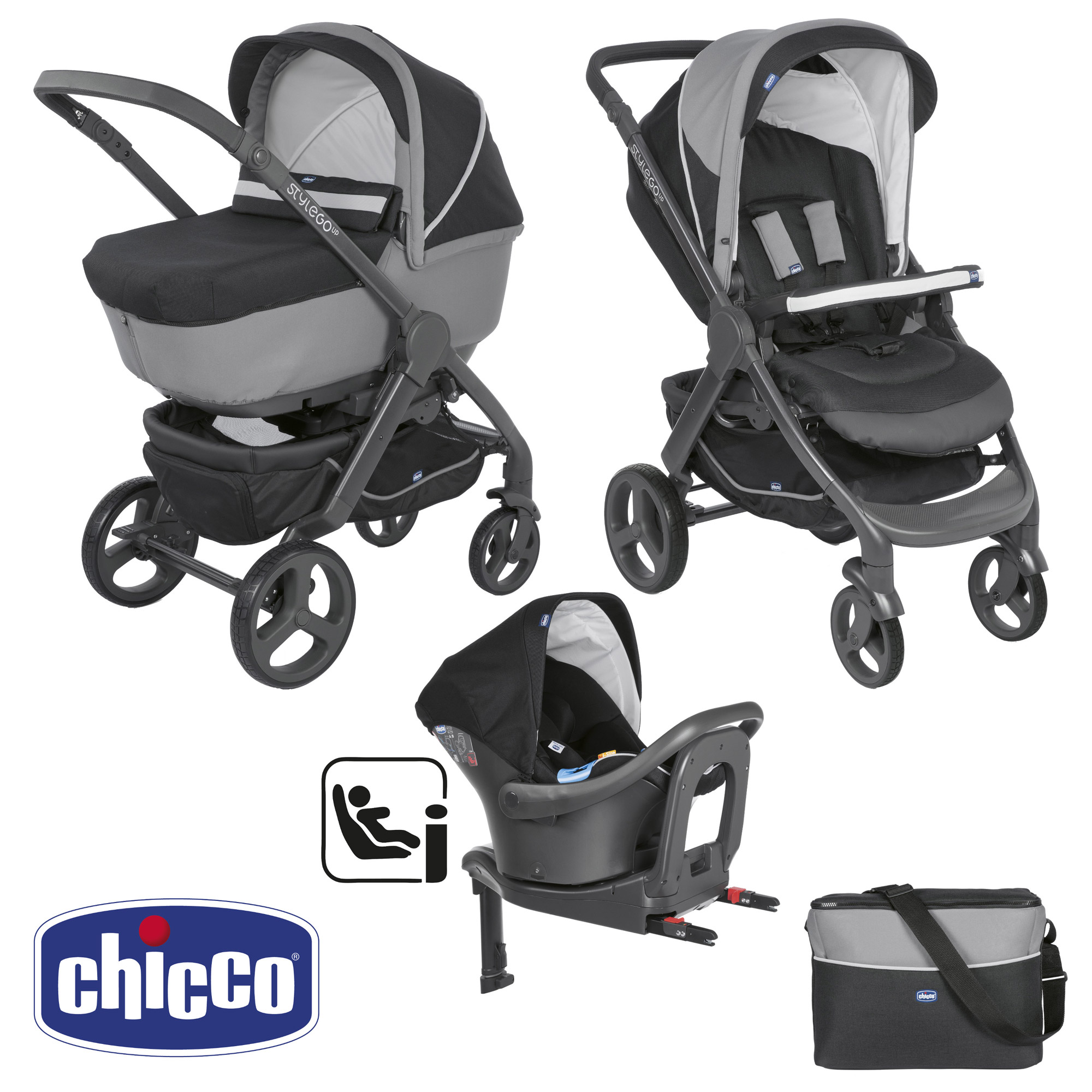 Trio StyleGo Up i-Size Jet Black de Chicco, Packs poussettes : Aubert