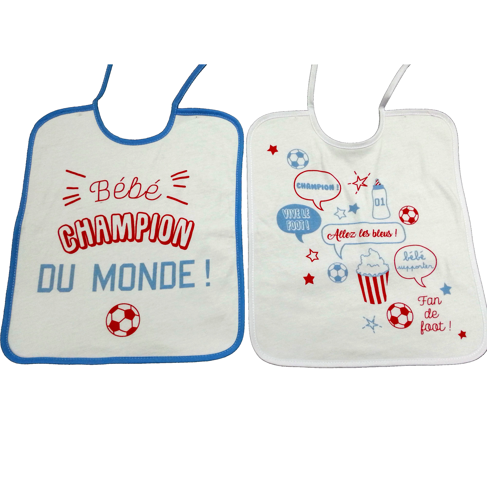 Lot de 2 bavoirs foot 28x32cm lacets   de Babycalin