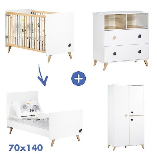 Chambre Oslo : Lit 70x140 + armoire + commode   de Sauthon Baby's Sweet Home