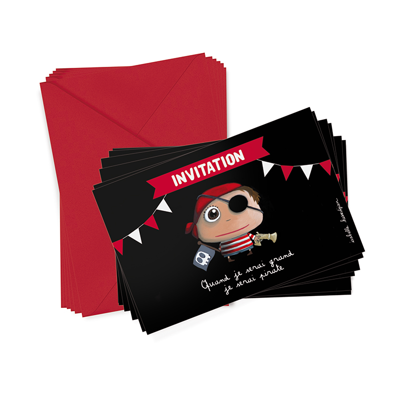 6 cartons d'invitation Pirate  de Label Tour