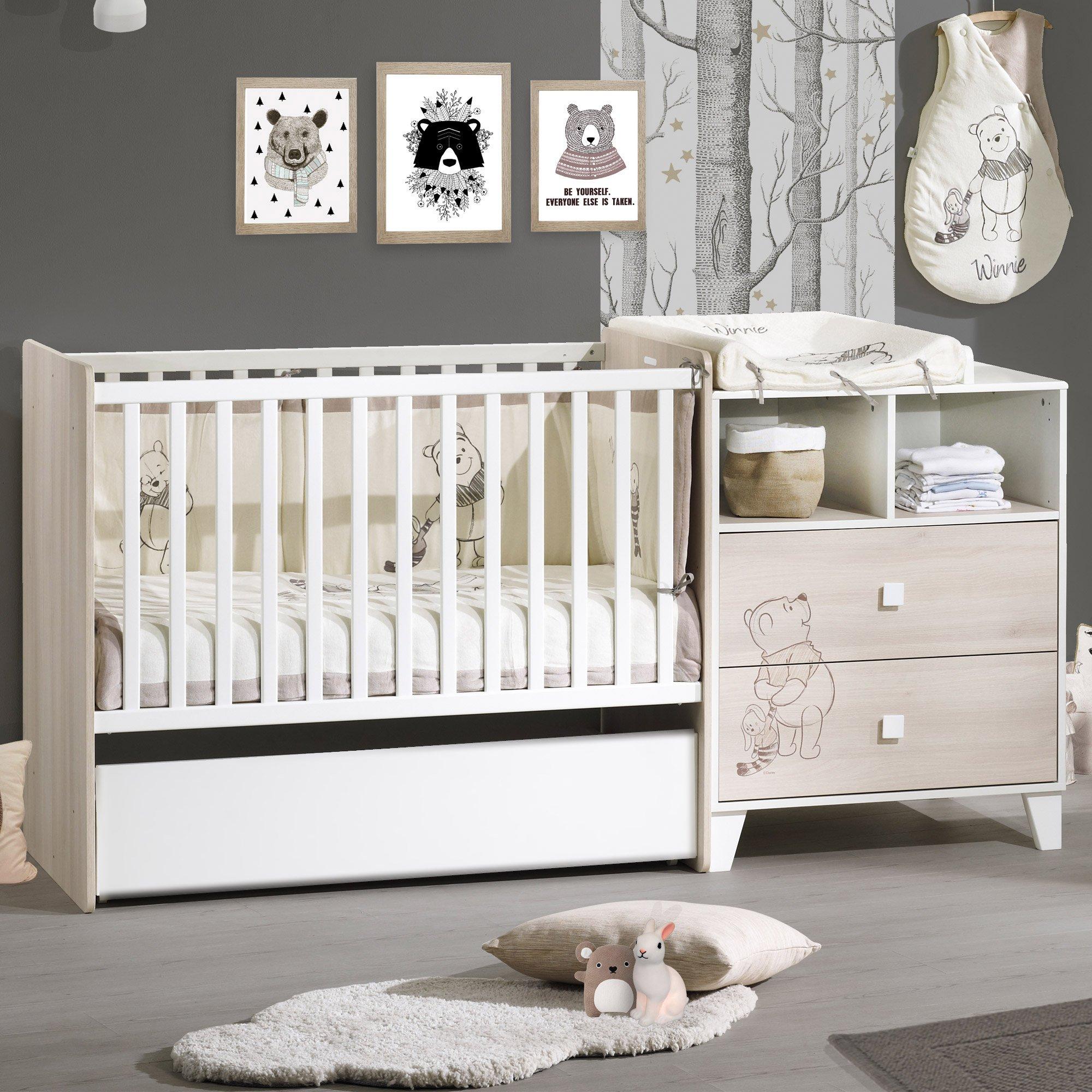 Winnie l\'Ourson lit combiné évolutif Beige / Blanc de Sauthon Baby\'s ...