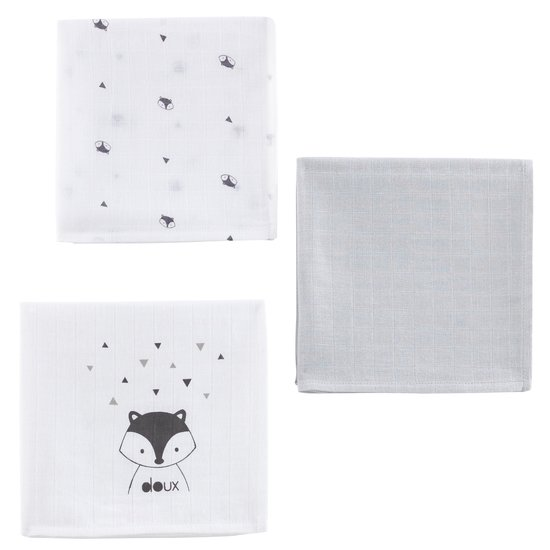 Lot de 3 langes collection Little Fox Gris 70x70 cm de P'tit bisou