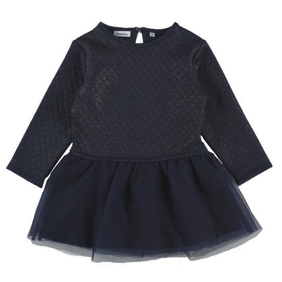 Robe Fille bi-matière en molleton Collection Smart Girl Bleu doré  de Noukies