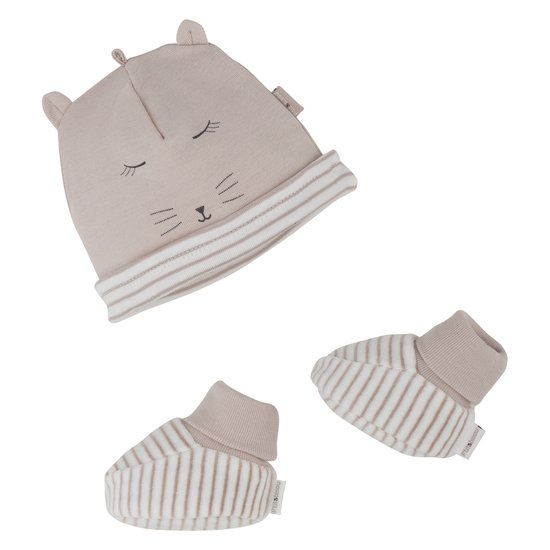 Ensemble bonnet + chaussons collection Mini Cat Beige  de P'tit Bisou Trousseau