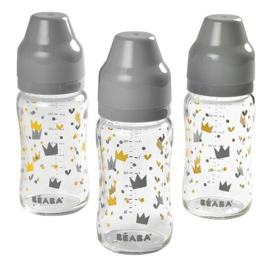 Set de 3 biberons verre col large Yellow/Grey Crown 240ml de Béaba