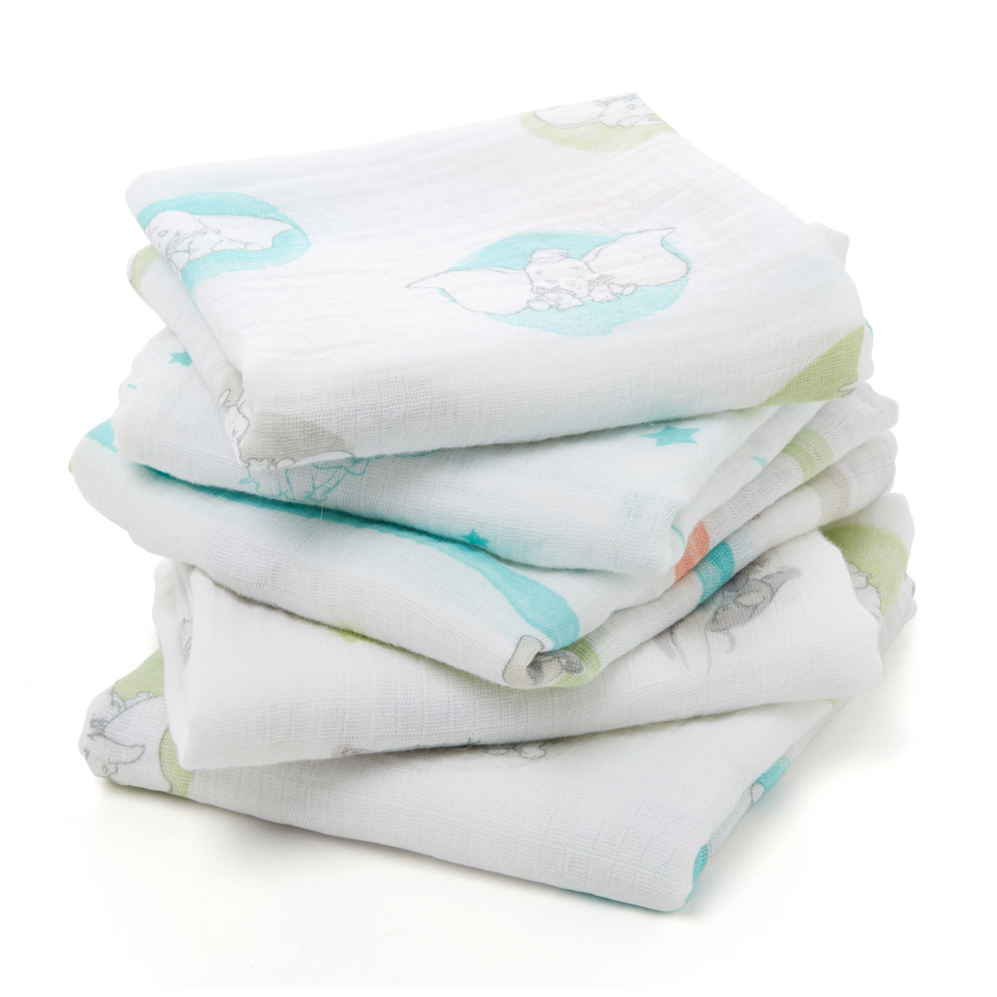 Lot de 5 langes Musy 60x60 Flying Dumbo  de aden + anais essentials